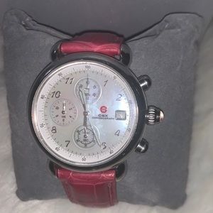 Michele CSX Chronograph Watch with Leather Band